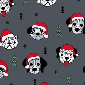 Little puppy friends Christmas dogs pug pitbull shepherd and poodle with santa hat charcoal gray red green