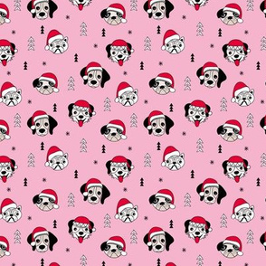 Little puppy friends Christmas dogs pug pitbull shepherd and poodle with santa hat pink red SMALL