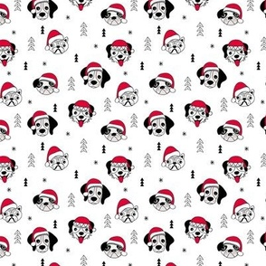 Little puppy friends Christmas dogs pug pitbull shepherd and poodle with santa hat black and white red SMALL