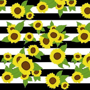 Sunflowers over large black and white stripes