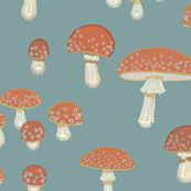 Embroidered toadstools on stormy aqua