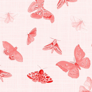 red moths on pink linen