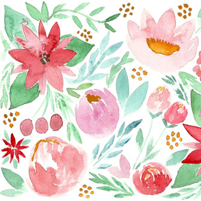 Christmas Watercolor Florals - LARGE