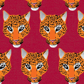 Leopard face repeat maroon by Mount Vic and Me