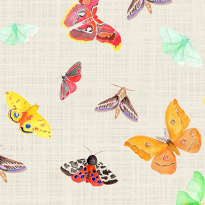 half drop watercolor moths on flax linen | large scale