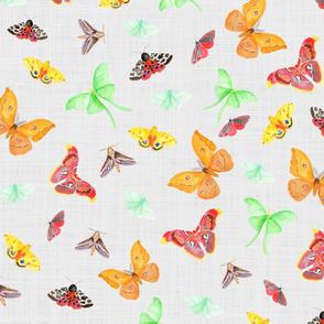 half drop watercolor moths on light grey linen | small scale