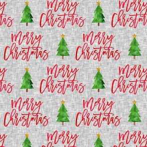 Merry Christmas - red script tree on grey - LAD19
