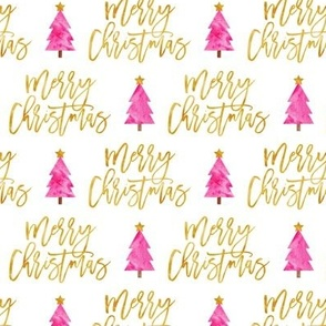 Merry Christmas - script pink tree - LAD19