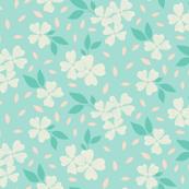 Dogwood Floral on Blue