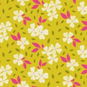Dogwood Floral on Lime