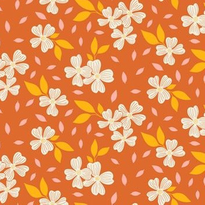 Dogwood Floral, White & Copper