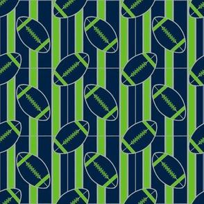 Blue Gray Green Stripes with  Football Polka Dots