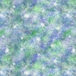 White Geranium Flowers on Blue Green Sunprint Texture