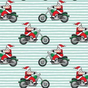 Chopper (motorcycle) Sleeveless Santa - mint stripes - LAD19