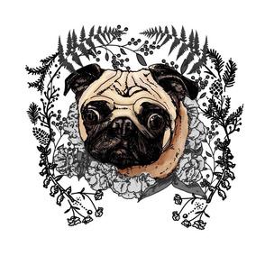 Pug in Wreath