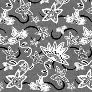Aurora's Fantasy Flower / Gray scale Linen Texture