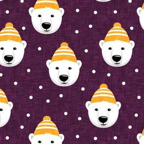 Winter bears - plum - LAD19