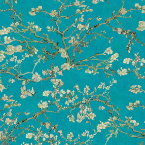 Vincent Van Gogh Almond Branches on Teal Blue Background
