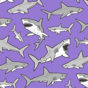 Sharks Shark Grey on Purple