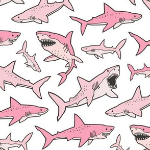 Sharks Shark Pink on White