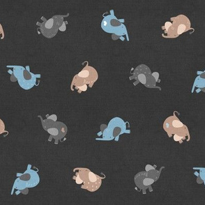 Tossed Sleepy Elephants Blue Dark