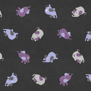 Tossed Sleepy Elephants Lavender Dark