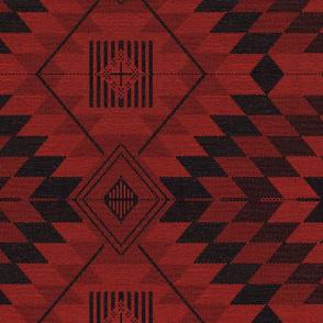 geometric kilim red and black large scale