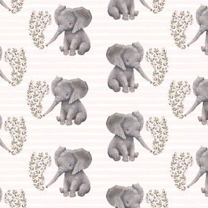 "4"" Floral Baby Elephant with Pink Stripes"