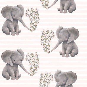 "8"" Floral Baby Elephant with Pink Stripes"