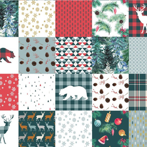 Deers and bears Christmas blanket wholecloth quilt Charm pack