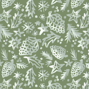 50s Old Time Christmas pattern green