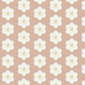 "almond daisy hexagon - 1.5"" daisy - sfx1213 - daisy quilt, baby quilt, nursery, baby girl, kids bedding, wholecloth quilt fabric"