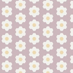 "lilac daisy hexagon - 1.5"" daisy - sfx1905 - daisy quilt, baby quilt, nursery, baby girl, kids bedding, wholecloth quilt fabric"