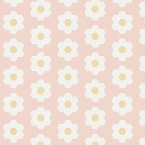 "blush daisy hexagon - 1.5"" daisy - sfx1404 - daisy quilt, baby quilt, nursery, baby girl, kids bedding, wholecloth quilt fabric"