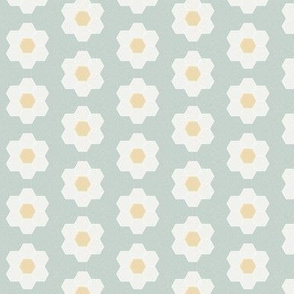 "milky green daisy hexagon - 1.5"" daisy - sfx6205 - daisy quilt, baby quilt, nursery, baby girl, kids bedding, wholecloth quilt fabric"