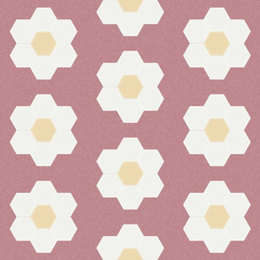 "clover daisy hexagon - 6"" daisy - sfx1718 - daisy quilt, baby quilt, nursery, baby girl, kids bedding, wholecloth quilt fabric"