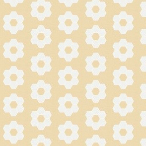 "chamomile daisy hexagon - 1.5"" daisy - sfx0916 - daisy quilt, baby quilt, nursery, baby girl, kids bedding, wholecloth quilt fabric"