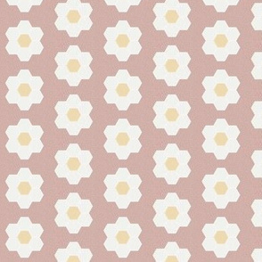 "rose daisy hexagon - 1.5"" daisy - sfx1512 - daisy quilt, baby quilt, nursery, baby girl, kids bedding, wholecloth quilt fabric"