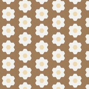 "chipmunk daisy hexagon - 1.5"" daisy - sfx1044 - daisy quilt, baby quilt, nursery, baby girl, kids bedding, wholecloth quilt fabric"