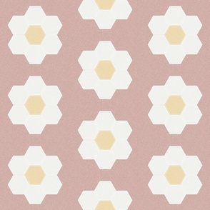 "rose daisy hexagon - 6"" daisy - sfx1512 - daisy quilt, baby quilt, nursery, baby girl, kids bedding, wholecloth quilt fabric"