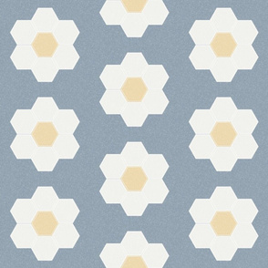"denim daisy hexagon - 6"" daisy - sfx4013 - daisy quilt, baby quilt, nursery, baby girl, kids bedding, wholecloth quilt fabric"