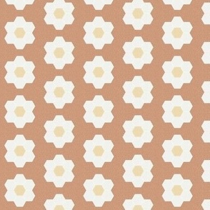 "sandstone daisy hexagon - 1.5"" daisy - sfx1328 - daisy quilt, baby quilt, nursery, baby girl, kids bedding, wholecloth quilt fabric"