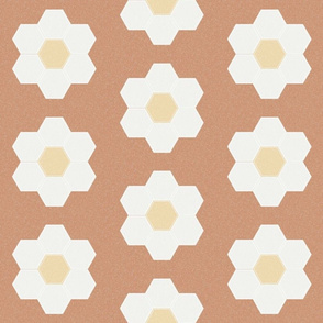 "sandstone daisy hexagon - 6"" daisy - sfx1328 - daisy quilt, baby quilt, nursery, baby girl, kids bedding, wholecloth quilt fabric"