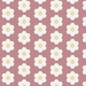 "clover daisy hexagon - 1.5"" daisy - sfx1718 - daisy quilt, baby quilt, nursery, baby girl, kids bedding, wholecloth quilt fabric"