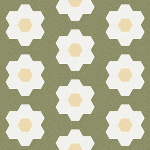 "iguana daisy hexagon - 6"" daisy - sfx0525 - daisy quilt, baby quilt, nursery, baby girl, kids bedding, wholecloth quilt fabric"