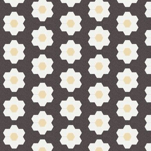 "coffee daisy hexagon - 1.5"" daisy - sfx1111 - daisy quilt, baby quilt, nursery, baby girl, kids bedding, wholecloth quilt fabric"
