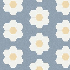 "denim daisy hexagon - 3"" daisy - sfx4013 - daisy quilt, baby quilt, nursery, baby girl, kids bedding, wholecloth quilt fabric"