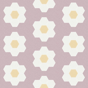 "lilac daisy hexagon - 6"" daisy - sfx1905 - daisy quilt, baby quilt, nursery, baby girl, kids bedding, wholecloth quilt fabric"