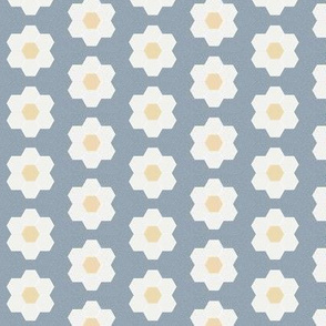 "denim daisy hexagon - 1.5"" daisy - sfx4013 - daisy quilt, baby quilt, nursery, baby girl, kids bedding, wholecloth quilt fabric"