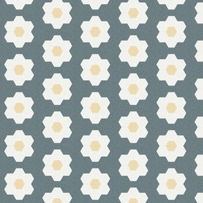 "stone daisy hexagon - 1.5"" daisy - sfx4011 - daisy quilt, baby quilt, nursery, baby girl, kids bedding, wholecloth quilt fabric"